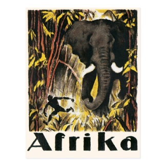 Vintage Africa Travel Poster African Elephant Post Card