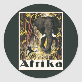 Vintage Africa Travel Poster, African Elephant Round Sticker