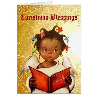 Vintage African American Angel Christmas Card