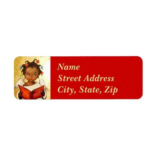 Vintage African American Angel Christmas Mailing Return Address Label