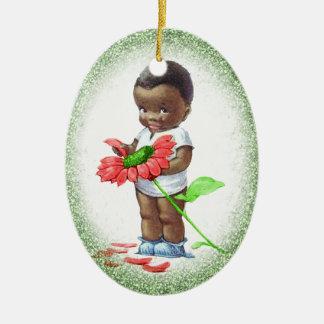 Vintage African American Boy Christmas Ornament