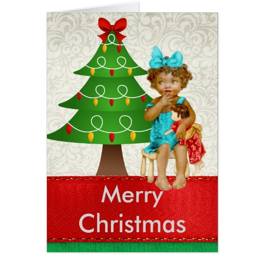 Vintage African American Christmas Card with Child