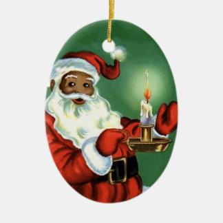 Vintage African American Christmas Ornament Santa