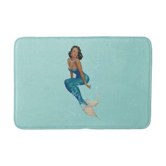 Vintage African American Pinup Mermaid in Diamonds Bath Mats