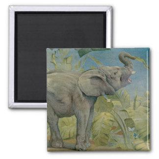 Vintage African Elephant in the Jungle, EJ Detmold Magnet