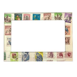 Vintage African Postage Stamps Picture Frame Magnet