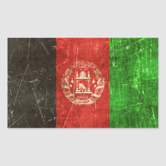 Vintage Aged and Scratched Flag of Afghanistan Rectangular Sticker