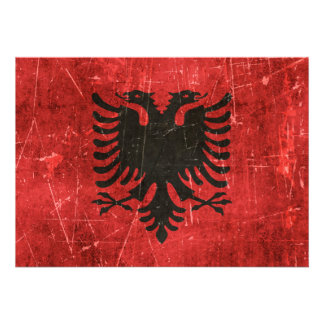 Vintage Aged and Scratched Flag of Albania Invitations