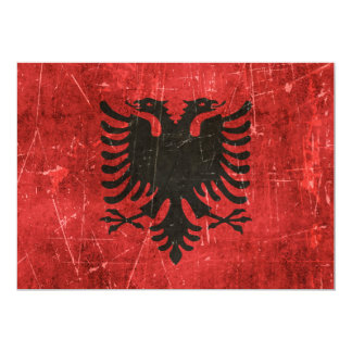 Vintage Aged and Scratched Flag of Albania 13 Cm X 18 Cm Invitation Card