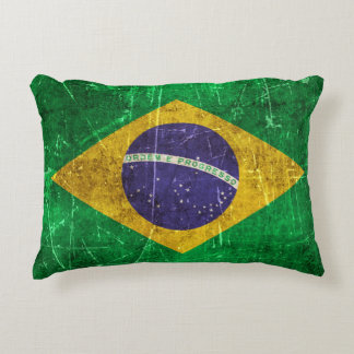 Vintage Aged and Scratched Flag of Brazil Decorative Cushion