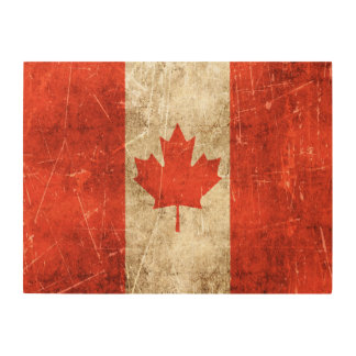 Vintage Aged and Scratched Flag of Canada Wood Wall Decor