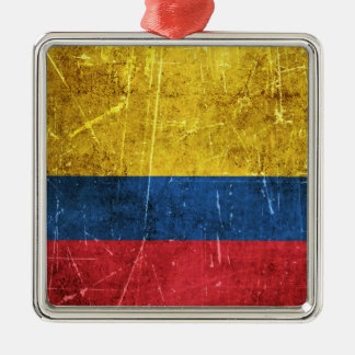 Vintage Aged and Scratched Flag of Colombia Christmas Ornament
