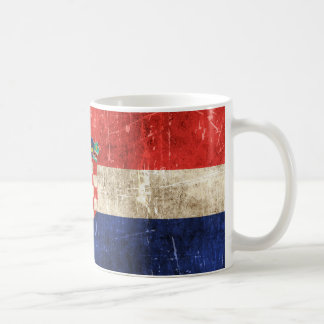 Vintage Aged and Scratched Flag of Croatia Coffee Mug