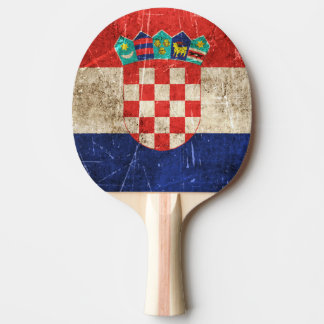 Vintage Aged and Scratched Flag of Croatia Ping Pong Paddle