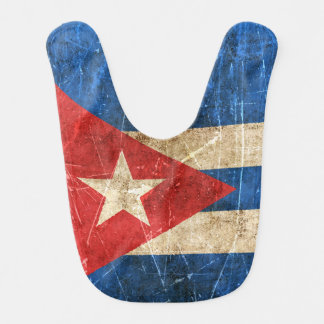Vintage Aged and Scratched Flag of Cuba Baby Bibs