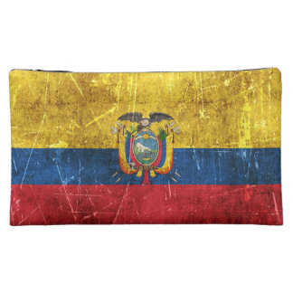 Vintage Aged and Scratched Flag of Ecuador Makeup Bags