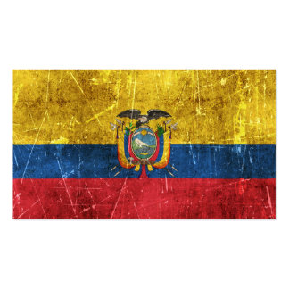 Vintage Aged and Scratched Flag of Ecuador Business Card Template