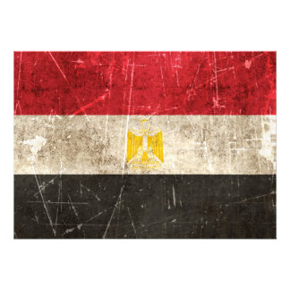 Vintage Aged and Scratched Flag of Egypt Personalized Invitation