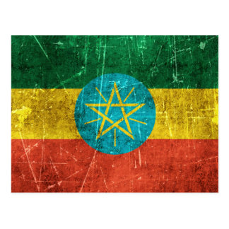 Vintage Aged and Scratched Flag of Ethiopia Postcard
