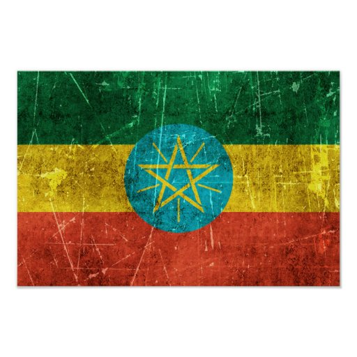 Vintage Aged and Scratched Flag of Ethiopia Posters