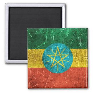 Vintage Aged and Scratched Flag of Ethiopia Square Magnet