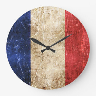 Vintage Aged and Scratched Flag of France Large Clock