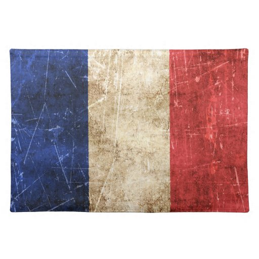 Vintage Aged and Scratched Flag of France Place Mats