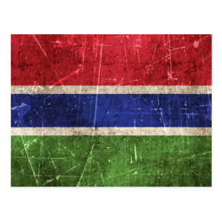 Vintage Aged and Scratched Flag of Gambia Postcard