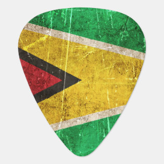 Vintage Aged and Scratched Flag of Guyana Guitar Pick