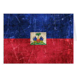 Vintage Aged and Scratched Flag of Haiti Greeting Card