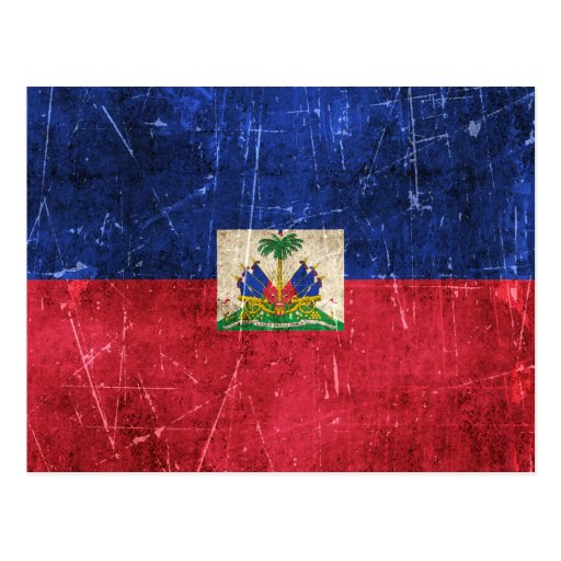 Vintage Aged and Scratched Flag of Haiti Post Card