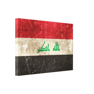 Vintage Aged and Scratched Flag of Iraq Canvas Prints