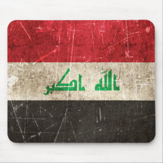 Vintage Aged and Scratched Flag of Iraq Mouse Pad