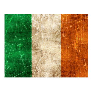 Vintage Aged and Scratched Flag of Ireland Postcard
