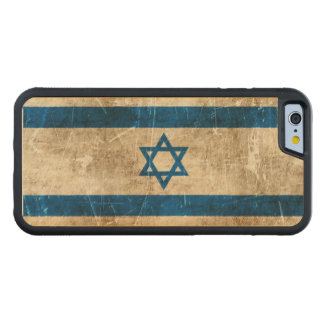 Vintage Aged and Scratched Flag of Israel Carved® Maple iPhone 6 Bumper Case