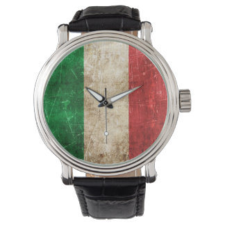 Vintage Aged and Scratched Flag of Italy Wrist Watch