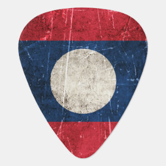 Vintage Aged and Scratched Flag of Laos Guitar Pick