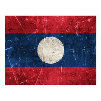 Vintage Aged and Scratched Flag of Laos Postcard