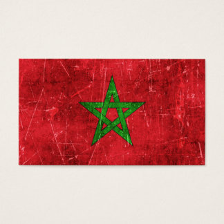 Vintage Aged and Scratched Flag of Morocco Business Card