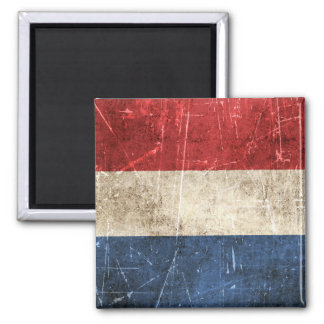 Vintage Aged and Scratched Flag of Netherlands Square Magnet