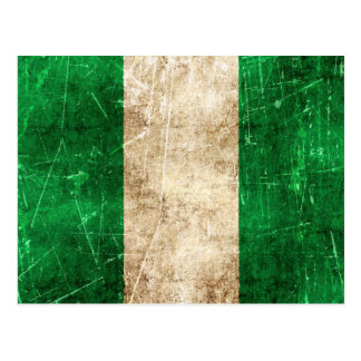 Vintage Aged and Scratched Flag of Nigeria Postcard