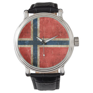 Vintage Aged and Scratched Flag of Norway Watch