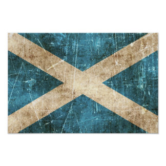 Vintage Aged and Scratched Flag of Scotland Poster
