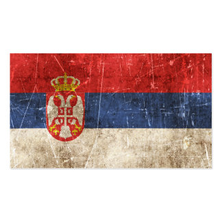Vintage Aged and Scratched Flag of Serbia Business Card