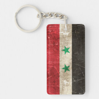 Vintage Aged and Scratched Flag of Syria Double-Sided Rectangular Acrylic Key Ring