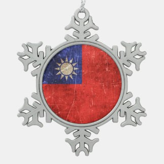 Vintage Aged and Scratched Flag of Taiwan Pewter Snowflake Decoration