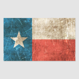 Vintage Aged and Scratched Flag of Texas Sticker