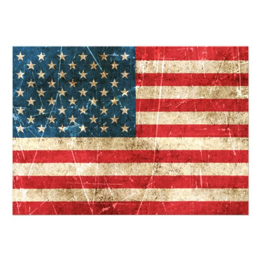 Vintage Aged and Scratched Flag of United States Personalized Invites