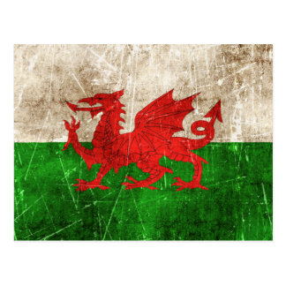 Vintage Aged and Scratched Flag of Wales Postcard