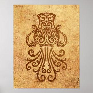 Vintage Aged Aquarius Zodiac Poster